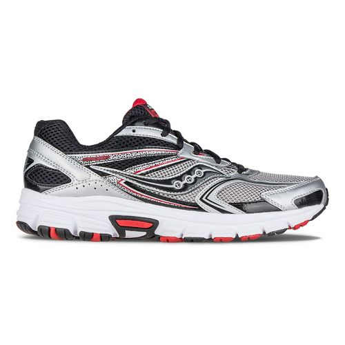 Mens Saucony Cohesion 9 Running Shoe - Silver/Black/Red 8