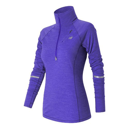 Womens New Balance Performance Merino Half Zip Long Sleeve Technical Tops - Spectral L