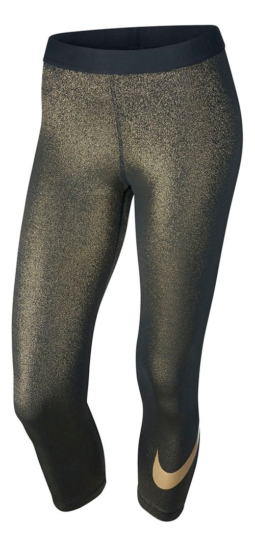 Womens Nike Pro Cool Capri Tights - Black/Gold XL