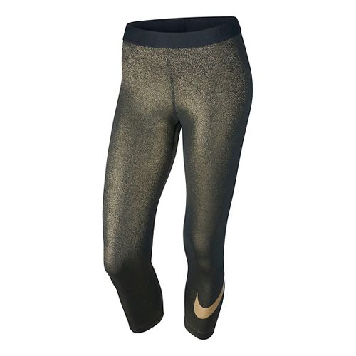 Womens Nike Pro Cool Capri Tights - Black/Gold M