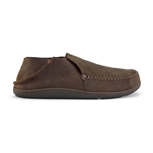 Mens OluKai Akahai Casual Shoe - Dark Wood/Dark Wood 9