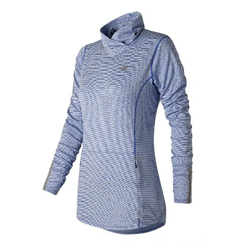 Womens New Balance Beacon Pullover Long Sleeve Technical Tops - Majestic Blue M