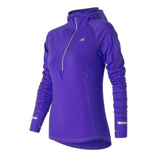 Womens New Balance NB Heat Half Zip Long Sleeve Technical Tops - Spectral XS