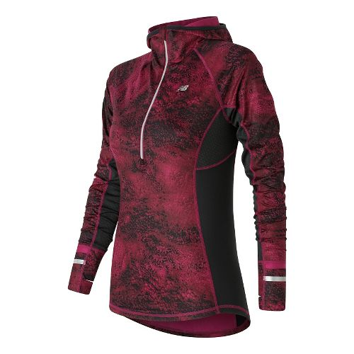 Womens New Balance NB Heat Half Zip Long Sleeve Technical Tops - Deep Jewel Multi ...