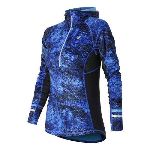 Womens New Balance NB Heat Half Zip Long Sleeve Technical Tops - Bluefin Multi S ...