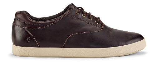 Mens OluKai Makani Lace Leather Casual Shoe - Dark Wood/Dark Wood 8.5