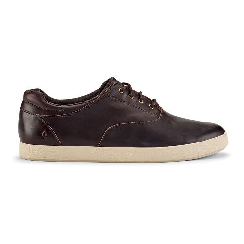 Mens OluKai Makani Lace Leather Casual Shoe - Dark Wood/Dark Wood 11