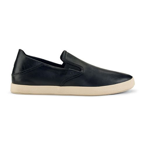 Mens OluKai Makani Leather Casual Shoe - Black/Black 9.5