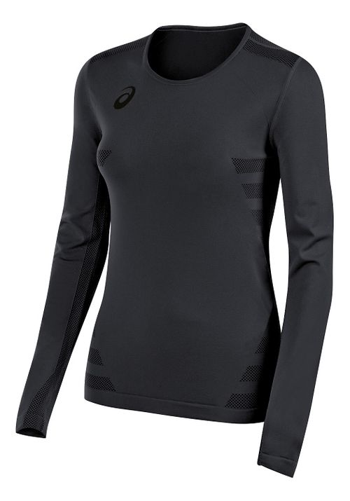 Womens ASICS Tactic Court Long Sleeve Technical Tops - Steel Grey S