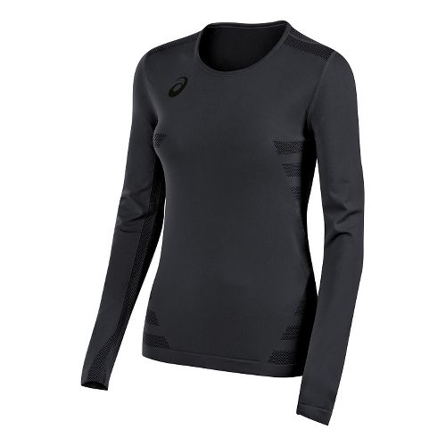 Womens ASICS Tactic Court Long Sleeve Technical Tops - Steel Grey L