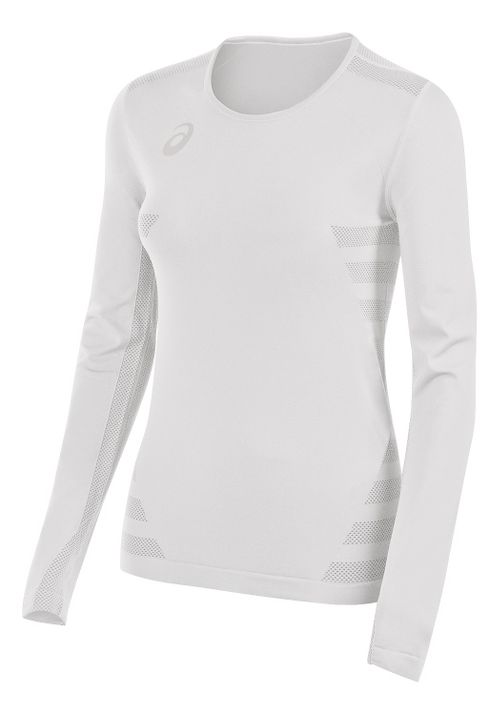 Womens ASICS Tactic Court Long Sleeve Technical Tops - White XS