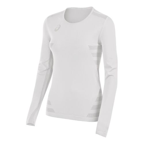 Womens ASICS Tactic Court Long Sleeve Technical Tops - White XXL