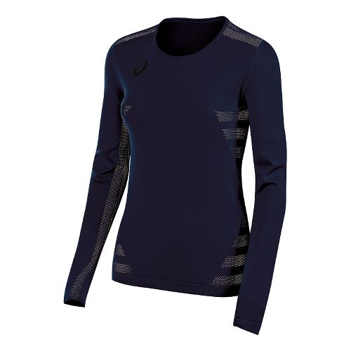 Womens ASICS Tactic Court Long Sleeve Technical Tops - Navy XS