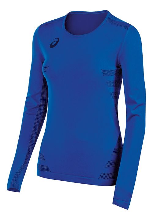 Womens ASICS Tactic Court Long Sleeve Technical Tops - Royal Blue XS