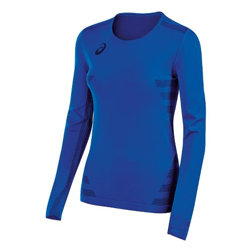 Womens ASICS Tactic Court Long Sleeve Technical Tops - Royal Blue XL