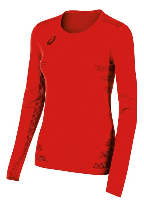 Womens ASICS Tactic Court Long Sleeve Technical Tops - Red XS