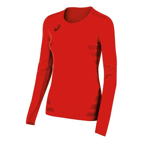 Womens ASICS Tactic Court Long Sleeve Technical Tops - Red XXS