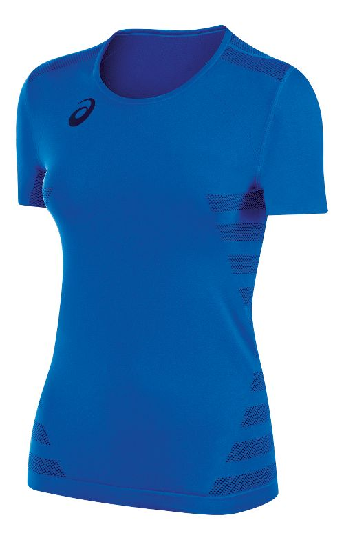 Womens ASICS Tactic Court Short Sleeve Technical Tops - Royal XL