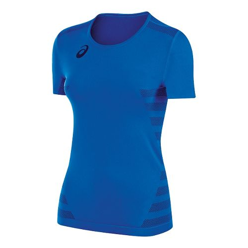 Womens ASICS Tactic Court Short Sleeve Technical Tops - Royal XS