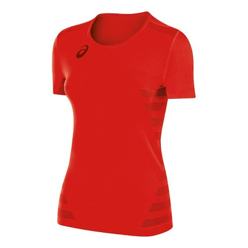 Womens ASICS Tactic Court Short Sleeve Technical Tops - Red XS