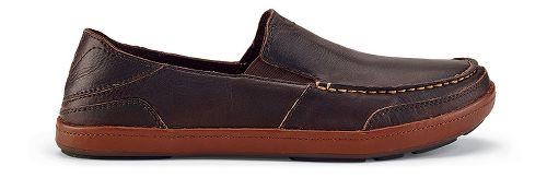 Mens OluKai Puhalu Leather Casual Shoe - Dark Wood/Toffee 12