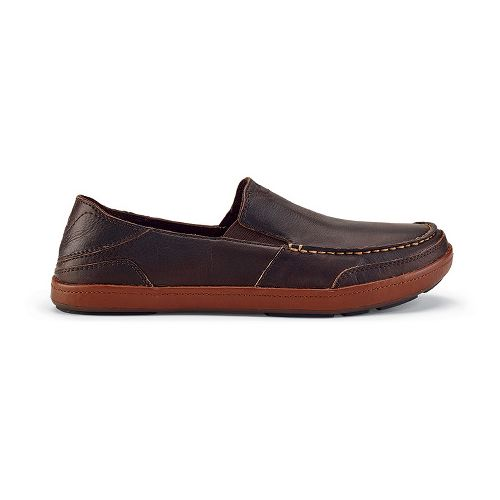 Mens OluKai Puhalu Leather Casual Shoe - Dark Wood/Toffee 9