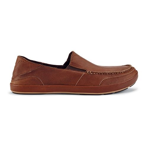 Mens OluKai Puhalu Leather Casual Shoe - Toffee/Toffee 9