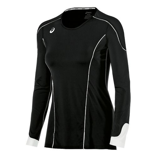 Womens ASICS Domain II Jersey Long Sleeve Technical Tops - Black/White M