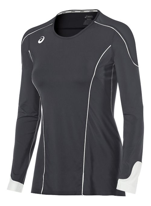 Womens ASICS Domain II Jersey Long Sleeve Technical Tops - Grey/White M