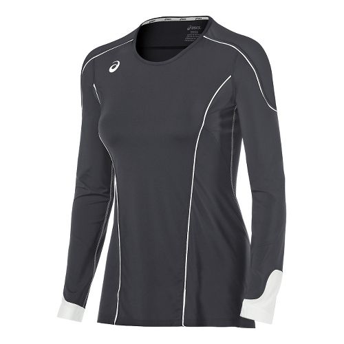 Womens ASICS Domain II Jersey Long Sleeve Technical Tops - Grey/White L