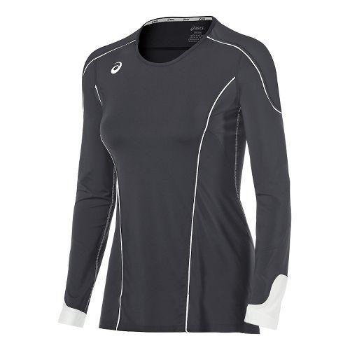 Womens ASICS Domain II Jersey Long Sleeve Technical Tops - Grey/White S