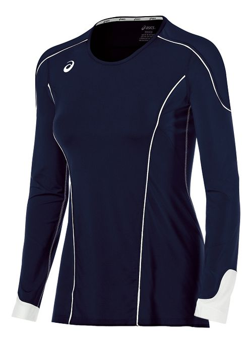 Womens ASICS Domain II Jersey Long Sleeve Technical Tops - Navy/White M