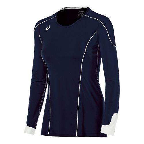 Womens ASICS Domain II Jersey Long Sleeve Technical Tops - Navy/White M