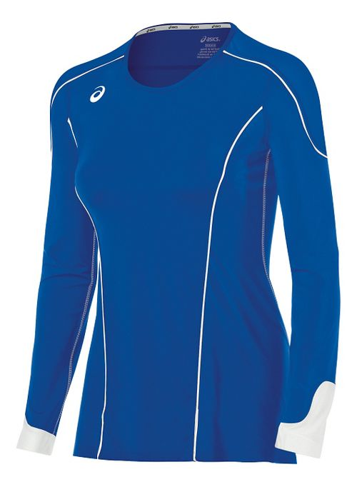 Womens ASICS Domain II Jersey Long Sleeve Technical Tops - Royal/White M