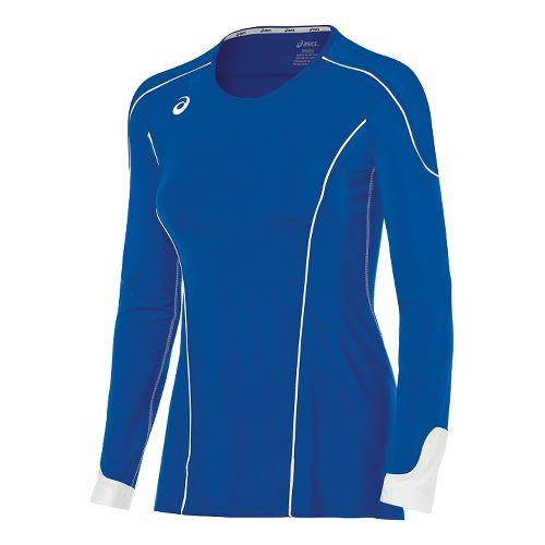 Womens ASICS Domain II Jersey Long Sleeve Technical Tops - Royal/White L