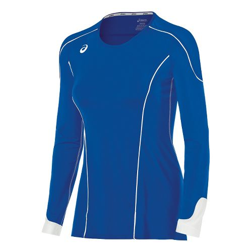 Womens ASICS Domain II Jersey Long Sleeve Technical Tops - Royal/White XS