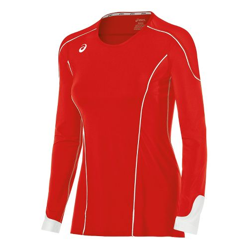 Womens ASICS Domain II Jersey Long Sleeve Technical Tops - Red/White XS