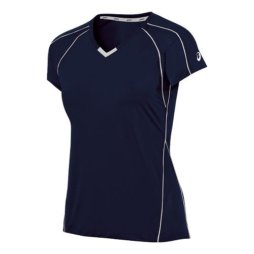 Womens ASICS Upcourt Jersey Short Sleeve Technical Tops - Navy/White S