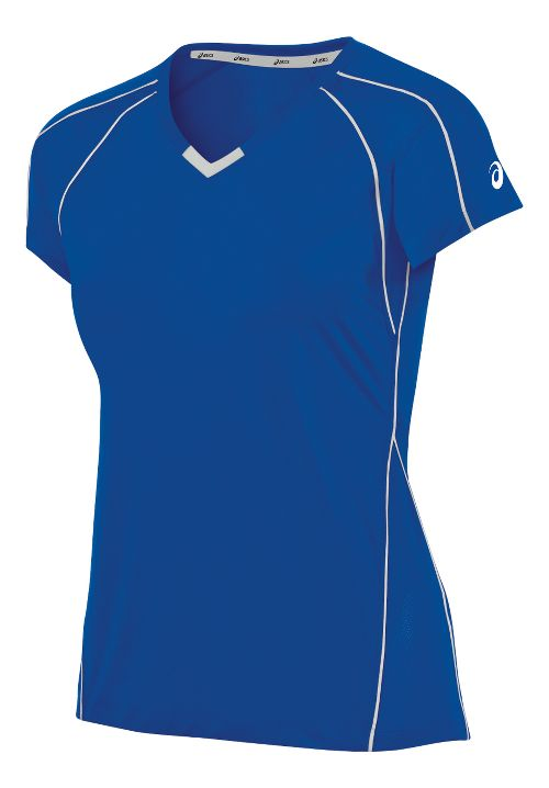 Womens ASICS Upcourt Jersey Short Sleeve Technical Tops - Royal/White XS