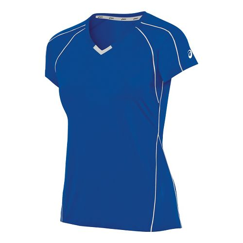 Womens ASICS Upcourt Jersey Short Sleeve Technical Tops - Royal/White S