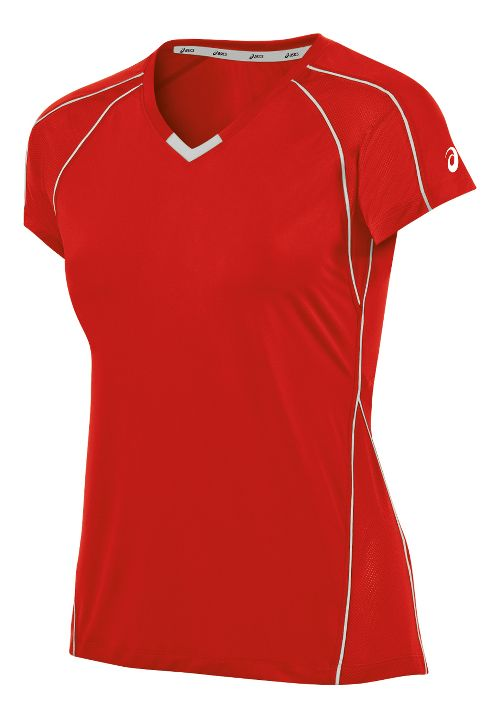 Womens ASICS Upcourt Jersey Short Sleeve Technical Tops - Red/White XXL