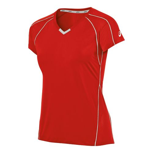 Womens ASICS Upcourt Jersey Short Sleeve Technical Tops - Red/White XL