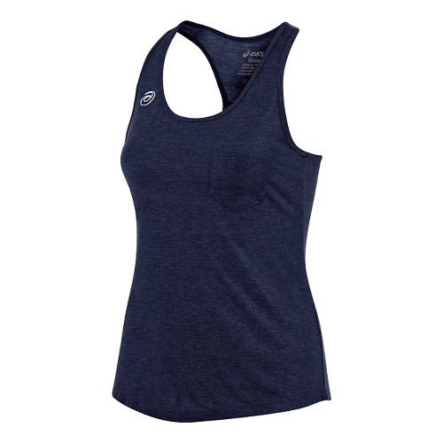 Womens ASICS TM Tech Sleeveless & Tank Technical Tops - Navy Heather M