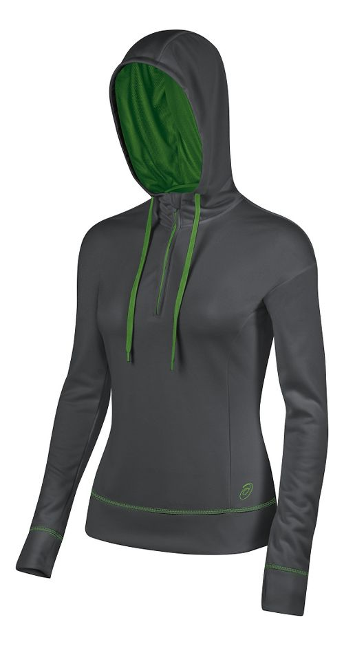 Womens ASICS TM Tech Poly 1/2 Zip Hoodie & Sweatshirts Technical Tops - Grey/Lime M