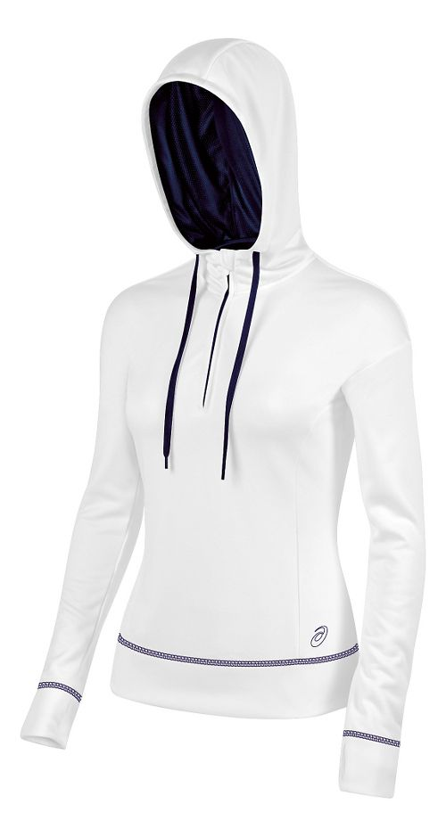 Womens ASICS TM Tech Poly 1/2 Zip Hoodie & Sweatshirts Technical Tops - White/Navy S
