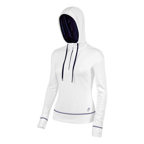 Womens ASICS TM Tech Poly 1/2 Zip Hoodie & Sweatshirts Technical Tops - White/Navy S ...