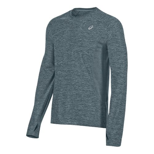 Mens ASICS Lite-Show Long Sleeve Technical Tops - Light Heather Grey S