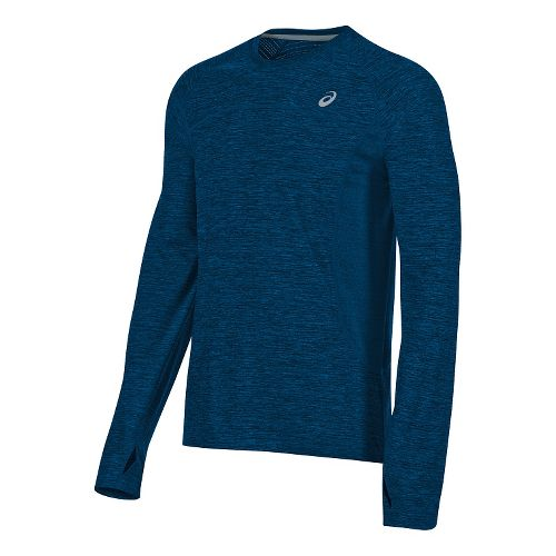 Mens ASICS Lite-Show Long Sleeve Technical Tops - Blue Heather S