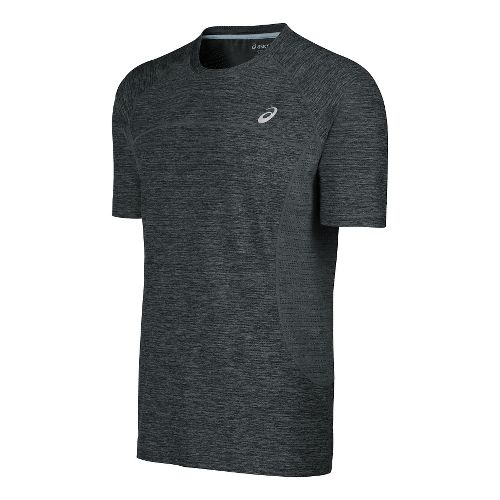 Mens ASICS Lite-Show Short Sleeve Technical Tops - Dark Heather Grey L