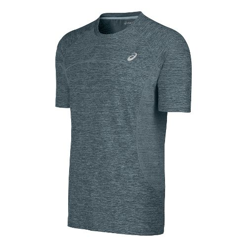 Mens ASICS Lite-Show Short Sleeve Technical Tops - Light Heather Grey S